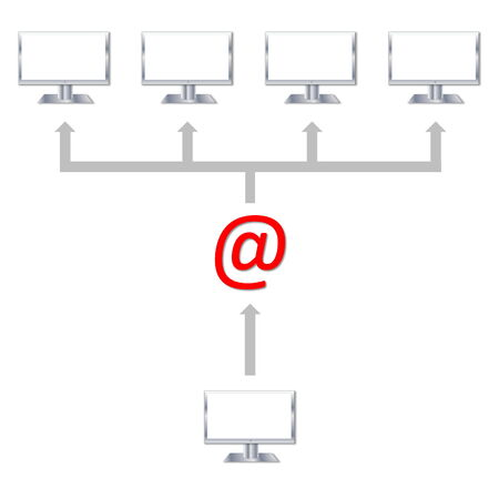 One email sent to many computers in white  photo