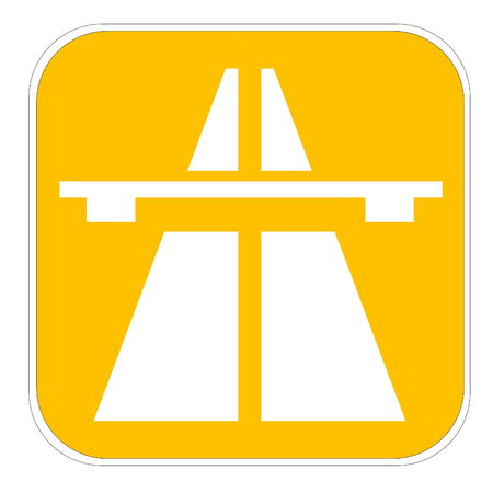 Yellow european highway icon isolated in white