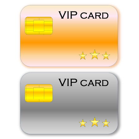 Golden and grey VIP card with chip in white  photo