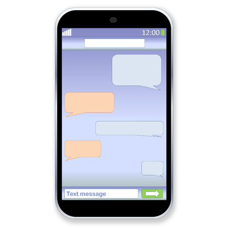 Mobile touch phone with sms chat on the screen in white  photo