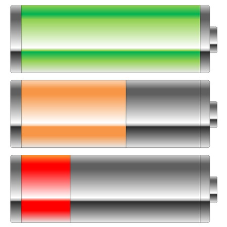 Three colors battery level in white  photo