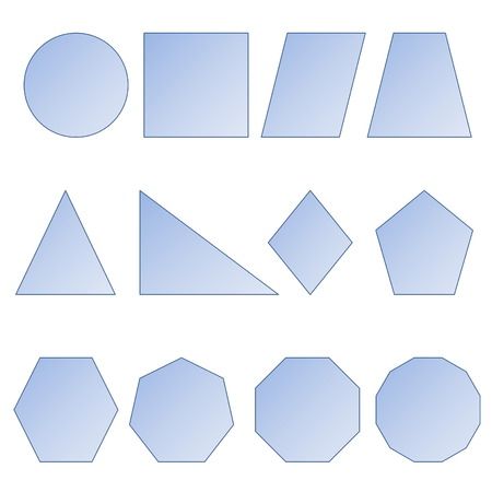heptagon: Set of two dimension shapes in white background