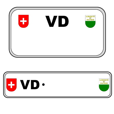 numberplate: Vaud front and back plate numbers, Switzerland, in white background