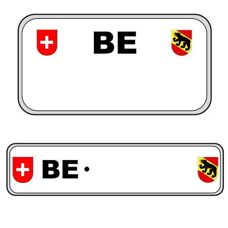 numberplate: Bernese front and back plate numbers, Switzerland, in white background Stock Photo