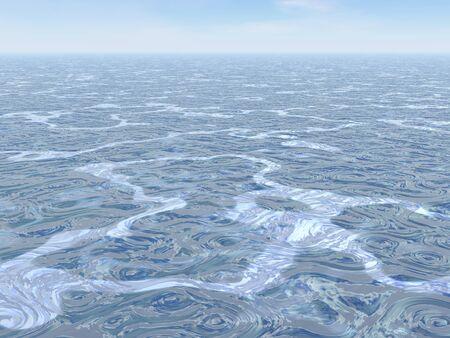 Ocean swirled and horizon by beautiful day photo