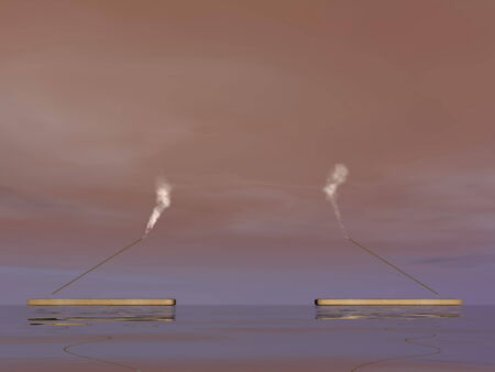 smell of burning: Two incense sticks with smoke upon water in colorful background