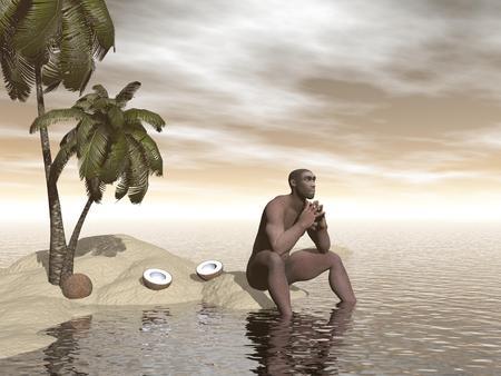 erectus: Una sola homo erectus sentado solo en una playa de la isla junto a coco loco y pensar