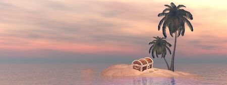 One treasure chest alone on small island with palm trees in the middle of ocean by sunset photo