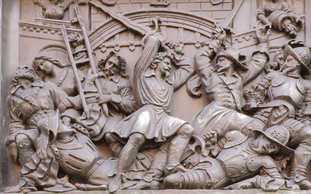 Bas-relief on fountain of the Escalade  1857  representing a fight, Geneva, Switzerland photo