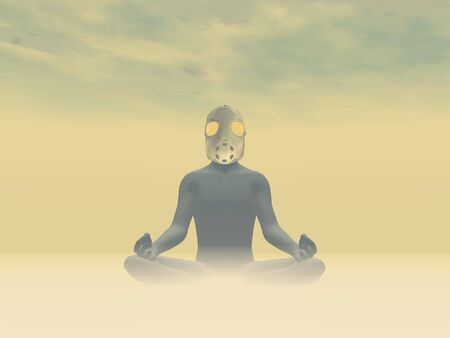 Man wearing gas mask meditating about pollution in foggy background