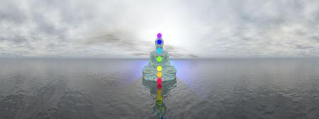kundalini: Buddha meditating with seven colorful chakras upon ocean by grey sunset, 360 degrees effect