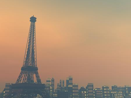 polluted cities: Pollution smog surrounding Paris city by sunset, France