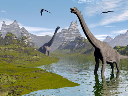 Brachiosaurus dinosaurs walking in water landscape by beautiful day