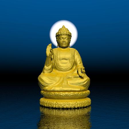 One golden buddha with white halo around the head meditating on water by beautiful night photo