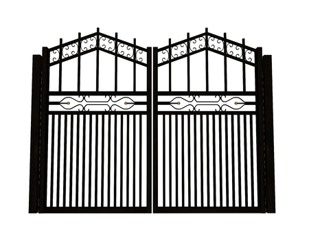 Closed big iron gate in white background photo