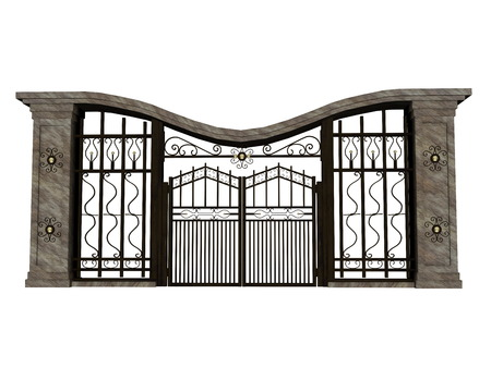 heavens gates: Closed big iron gate in white background