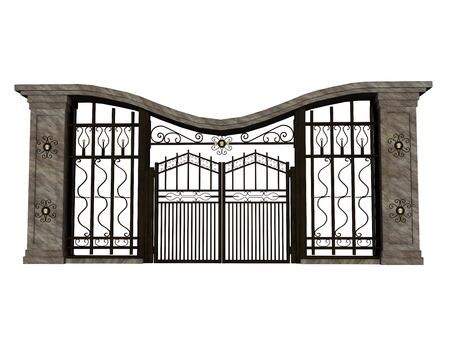 Closed big iron gate in white background
