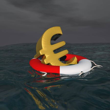One golden euro floating on a buoy onto the ocean photo