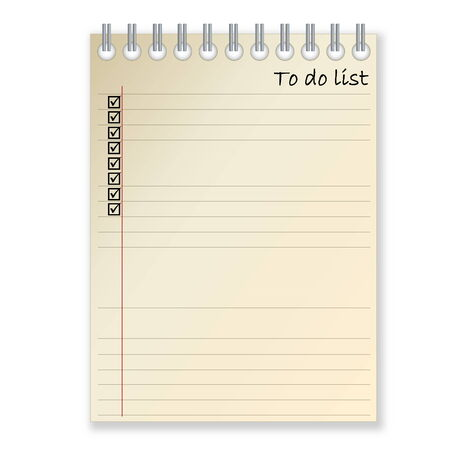 things to do: Notebook for writing things to do in white background Stock Photo