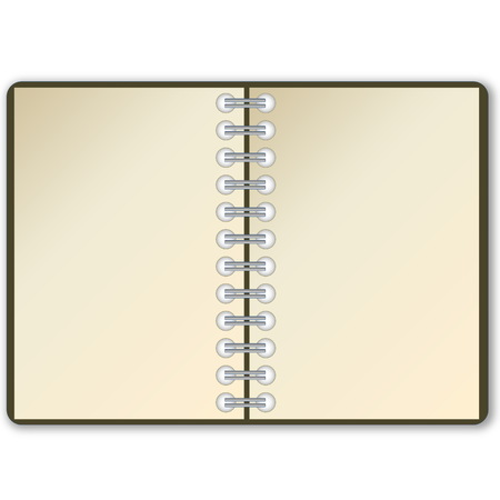 Open notebook with blank page in white background photo