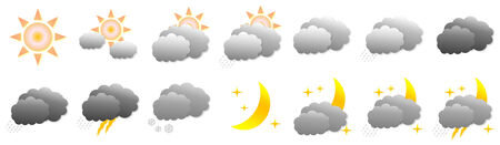 Set of different weather icons in white background photo