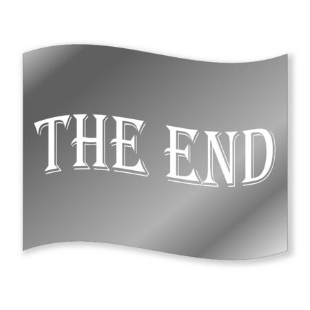 Grey vintage the end in white background photo
