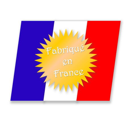Icon for made in France with french flag into white background photo