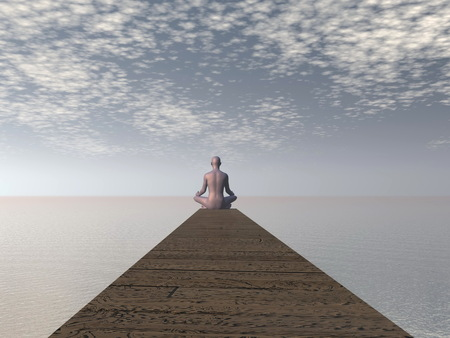 Man meditating on a pontoon in front of the ocean by morning light photo