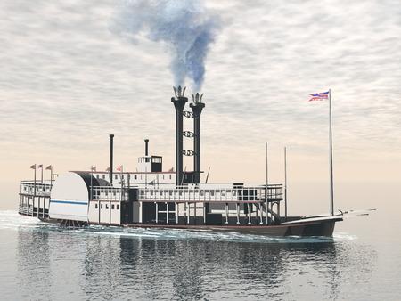Een oude rivierboot drijvend op het water door het bewolkte dag