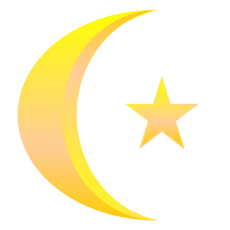 Golden star and crescent for islamic symbol in white background photo