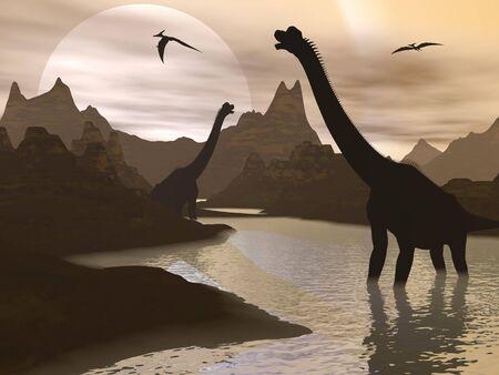 brachiosaurus: Brachiosaurus dinosaurs walking in water landscape by sunset Stock Photo