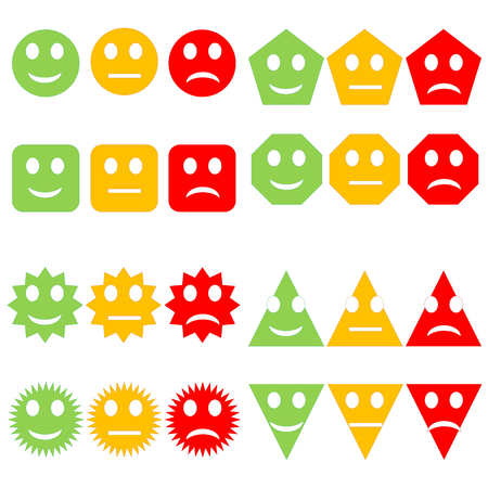 Set of different shapes happy to sad smileys in white background photo