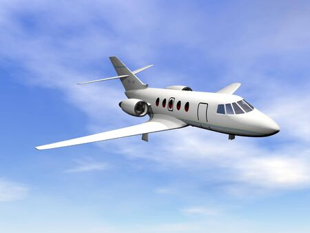Private jet plane flying in cloudy blue sky photo