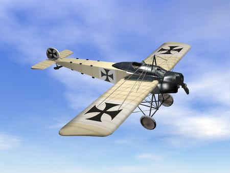 world war 2: Vintage aircraft with black cross flying in the sky