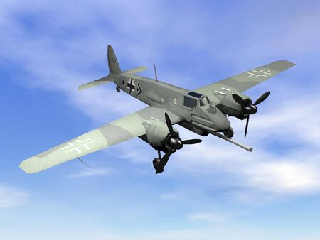 world war two: Green world war II german aircraft with swastika flying in the sky
