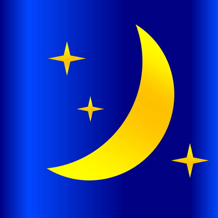 meteorological: Half yellow moon and stars as weather icon in night background