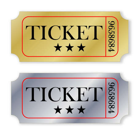Two golden and silver tickets isolated in white background