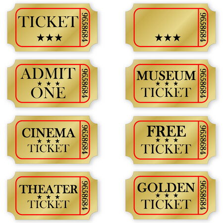 Various golden tickets isolated in white background Stock Photo