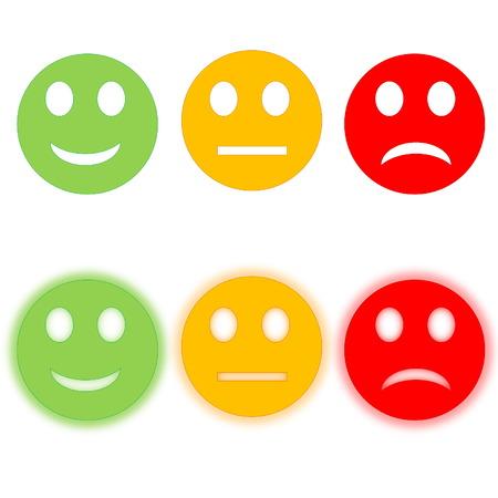 幸せ悲しい、スマイリー、ハローは、白い背景を持つ 3 つの円