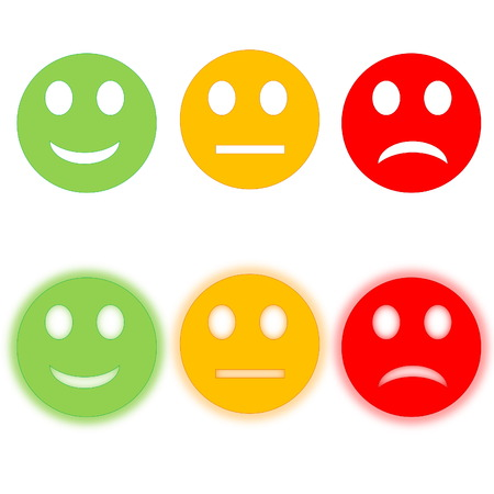 green smiley face: Circle happy to sad smileys, three with halos, in white background