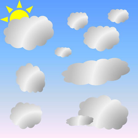 meteorological: Sun and little grey clouds in clear blue sky