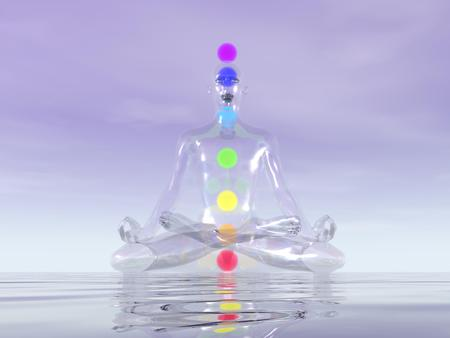 heart chakra red: Transparent man made of glass meditating with seven colorful chakras inside upon ocean