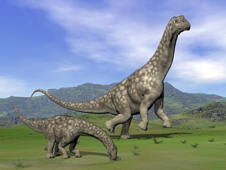 Mother argentinosaurus dinosaur and baby eating in green landscape by day photo