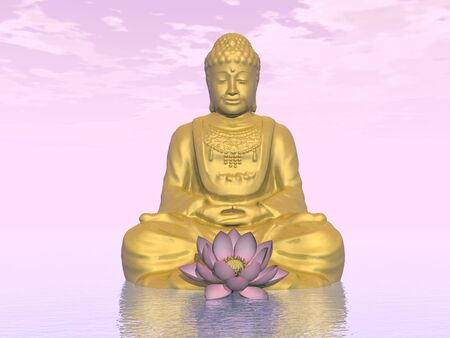 buddha lotus: One golden buddha and lotus flower in pink background