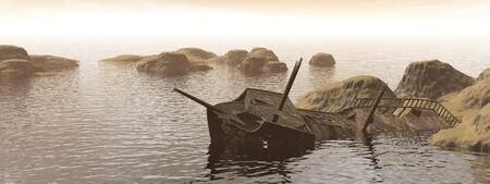 Old dirty wreck stranded next to small islands by sunset Stock Photo