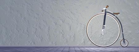 Beautiful old penny-farthing or high wheel bicycle in the street photo