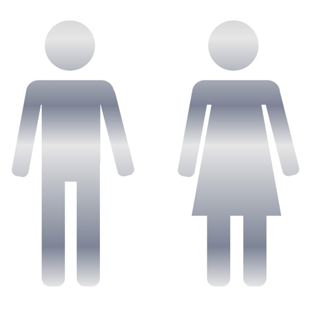 Silver male and female sign on white background photo
