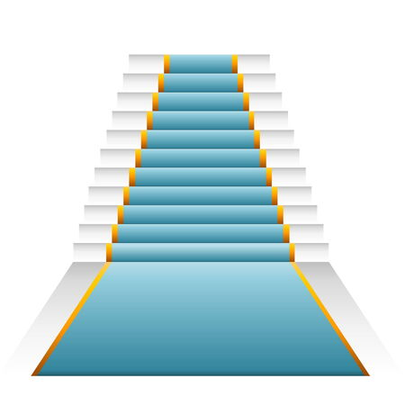 bluegreen: Blue-green elegant stairs isolated in white background Stock Photo
