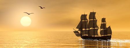 Mooie gedetailleerde oude koopvaardijschip naast meeuwen bij zonsondergang