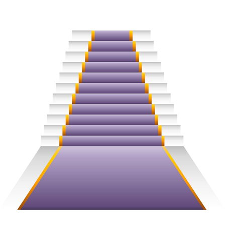 Violet elegant stairs isolated in white background photo